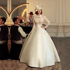 retro long sleeves lace wedding dresses ball gown vintage satin