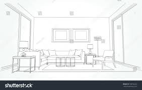 sketch room linear sketch interior living room plan stock vector 708794323