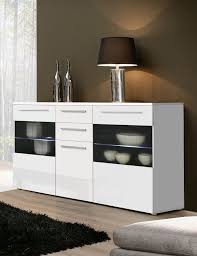 milano high gloss white sideboard chest dresser with lighting