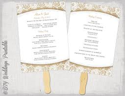 ceremony fans wedding program fan template rustic burlap lace