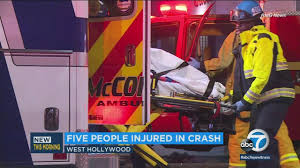 5 injured in multi car crash in west hollywood abc7 com