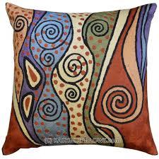Rust Sofa Klimt Modern Throw Pillows Rust Cushion Cover Blue Accent Sofa