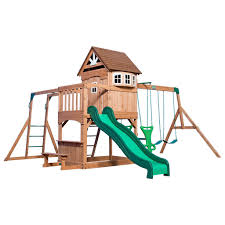 furniture wooden playsets with double slider and climber for kids