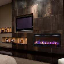 Electric Wall Fireplace Bombay 36 Inch Recessed Touch Screen Multi Color Wall