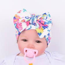 baby girl bows 2017 newborn kids muts hat stripe bow print nursery hat cap