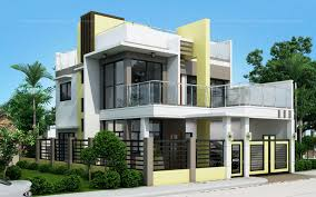 Two Storey Residential Floor Plan Prosperito Single Attached Two Story House Design With Roof Deck