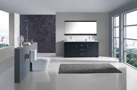 Double Sink Bathroom 60 Inch Modern Double Sink Bathroom Vanity Grey Finish Glass Top