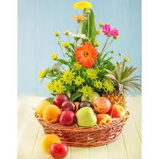 fruit basket arrangements 2 kgs fruit basket with flowers arrangement myflowergift
