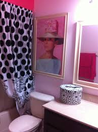 audrey hepburn theme girls bathroom pink black and white poka
