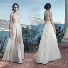 China sleevless chiffon wedding gown 2018 beach country travel