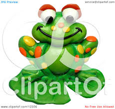 clay sculpture clipart spotted frog on a lily pad royalty free