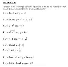 for each of the following parametric equations el chegg com