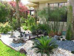 side yard garden landscaping tropical house design with wooden