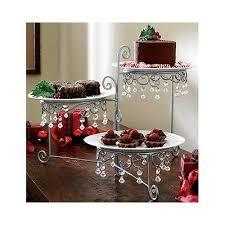 3 tier silvertone beaded swivel buffet server cakes desert