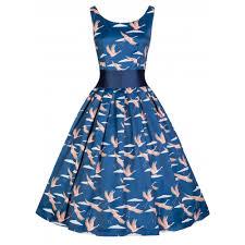 lana blue cranes swing dress vintage inspired fashion lindy bop
