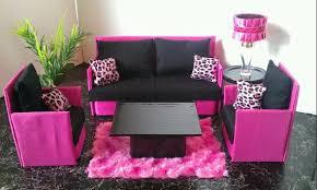 Barbie Furniture  Monster High  Bratz Living Room Set Hot Pink - Pink living room set