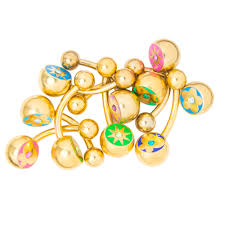 belly button ring 10 pack gold i p cz gem flower butterfly