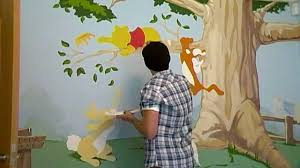amazing winnie the pooh bedroom mural time lapse youtube