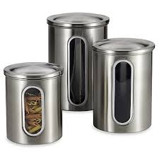 kitchen canister sets stainless steel polder brushed stainless steel window canisters set of 3 bed