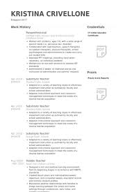 Substitute Teacher Job Description For Resume Paraprofessional Description For Resume 28 Images