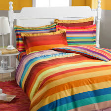 Rainbow Comforter Set Free Shipping Bedding Set 100 Cotton Rainbow Color Stripe Modern
