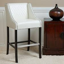elegant modern quilted off white leather bar stool wood base with