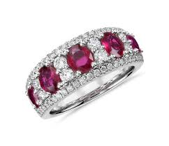 ruby band oval ruby and diamond ring in 14k white gold 0 55 ct tw blue
