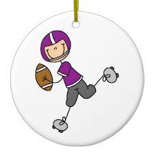 stick figure football purple ceramic ornament purple christmas