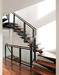 metal landing banister and railing glass panel stair railing landing handrail with oak and stairs