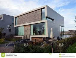 modern glass house modern house with garden in amsterdam royalty free stock photo