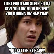 I Like Food Meme - like food and sleep so if i give you my food or text you during my