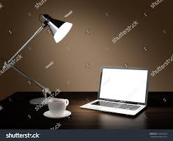 Wooden Laptop Desk by Computer Generated Image Laptop Desk Lamp Stock Illustration