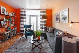 orange and grey living room u2013 modern house
