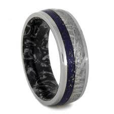 meteorite mens wedding band lapis lazuli ring meteorite wedding band from jewelrybyjohan on