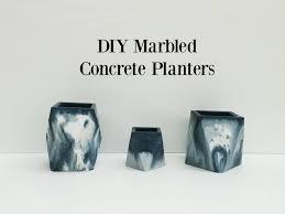 Concrete Planters Diy Marbled Concrete Planters The Row House Nest