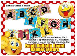 themed letters emoji themed 4 inch bulletin board banner letters by and