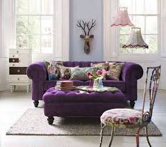 Chesterfield Sofa Cushions Violet Chesterfield Sofa With Ottoman As Coffee Table And Floral
