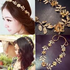 hair accessories for women women elastic gold leaves flower headbands metallic hair