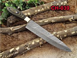 chef knives damacus depot inc damascus steel kitchen knife 13 inches full tang 7 5 long hand forged blade 2 tone dollar wood and brass bolster scale