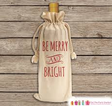 be merry and bright wine gift bag canvas wine bag