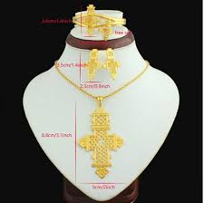 big size necklace images Ethiopian cross big size pendant necklace earring bangle ring set jpg