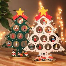 2017 1pc cartoon cute wooden christmas tree ornament xmas hanging