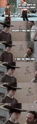 Rick And Carl Meme - superhero joke walking dead memes and dad jokes