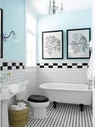 Tile Designs For Bathroom Walls Colors Vintage Style Bathroom With Black White Tile Claw Foot Tub