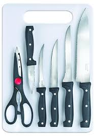 kitchen knives online buy kitchen knives in india best prices prestige tru edge kitchen knife board set 6 pieces black silver