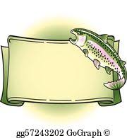 vector illustration rainbow trout tattoo banner clipart eps