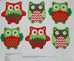 sale children u0027s christmas happy owl soft toy panel print cotton