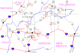 map of arizona map of four corners area