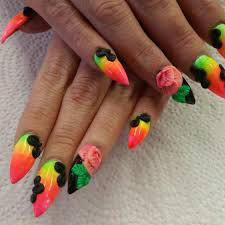 neon ombre stiletto nails with 3d acrylic nail art
