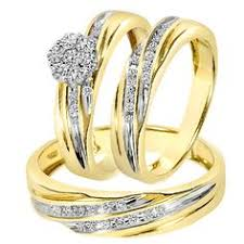 3 8 carat t w trio matching wedding ring set 14k yellow gold 3 8 carat t w trio matching wedding ring set 14k yellow